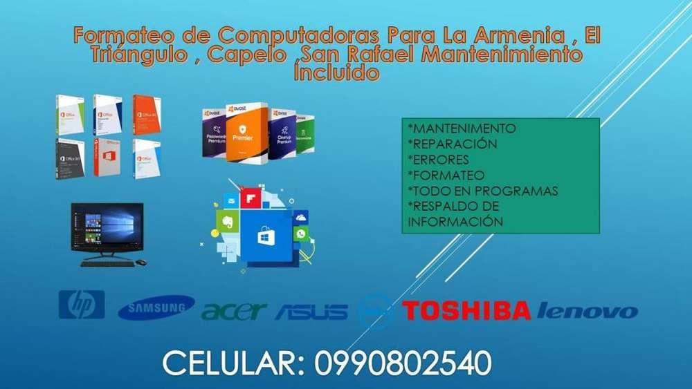 Formateo de Computadoras Para La Armenia , El Triangulo , Capelo ,San Rafael Mantenimiento Incluido Aceleracion