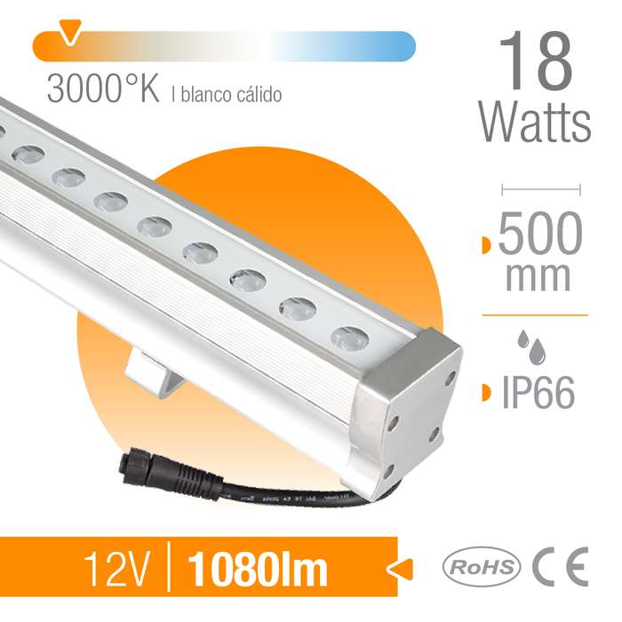 Bañador LED 18W Blanco Cálido 3000K 30 12V IP66 x50cm