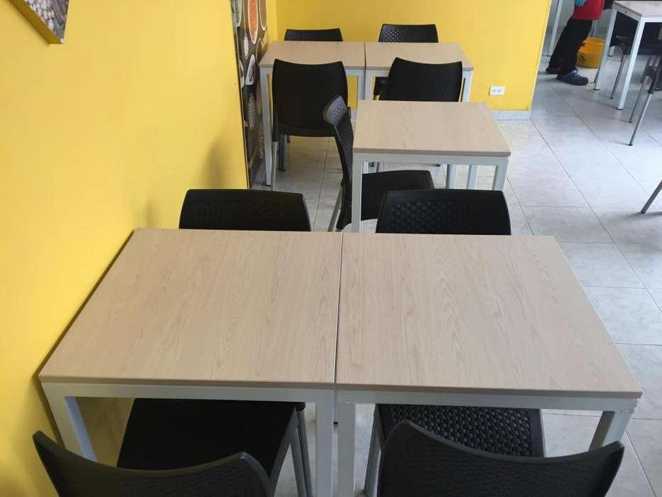 Mesas y sillas RESTAURANTE. JUEGO 1 mesa y 2 sillas