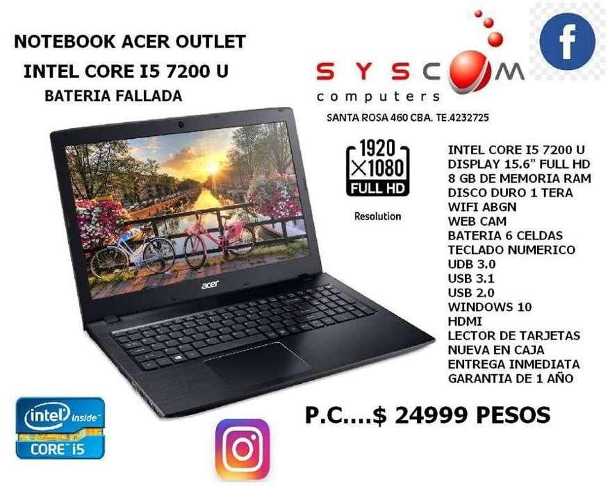 notbook acer core i5 7200 u