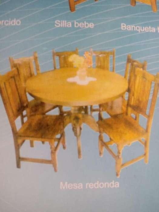 Mesa redonda madera de 1.40mts