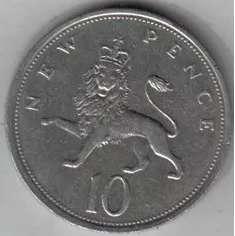 Gran Bretaña Moneda De 10 Pence Año 1975