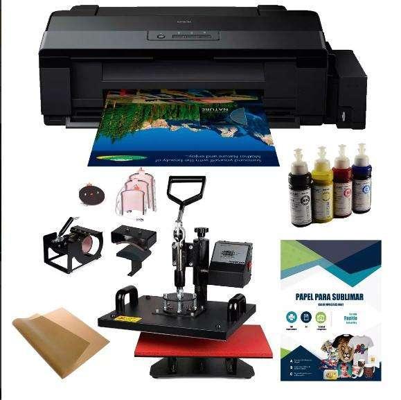 Kit Sublimacion Impresora y Plancha 8 En 1 más insumos.
