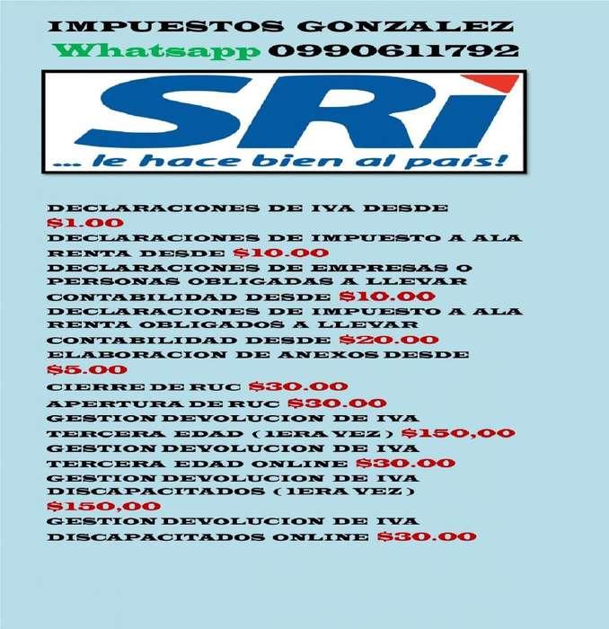 DECLARACIONES DE IMPUESTOS SRI 1.00. CONTABILIDAD EXTERNA CONTADOR WHATSAPP 0990611792