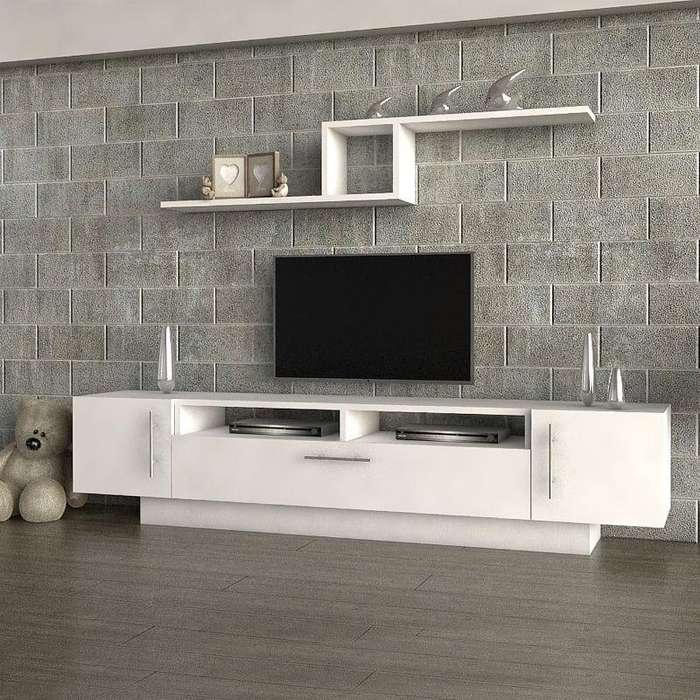 MESA MODULAR PARA TV LCD LED Y REPISA. CARPINTERÍA NOAH