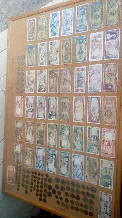 Cuadro con Billetes Y Monedas Colombia
