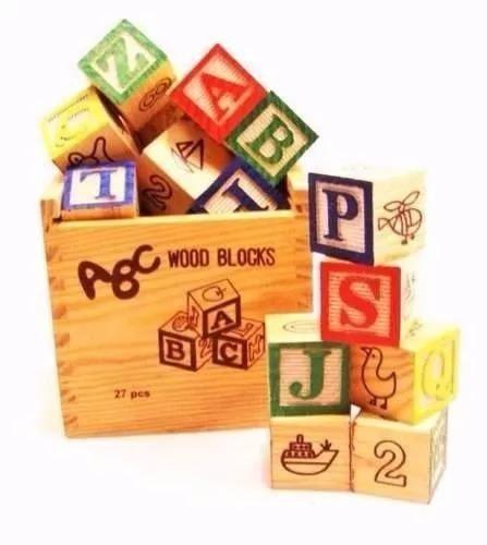 Cubos Didacticos Letras Numeros Madera Grande 27pzs Cubo 3cm