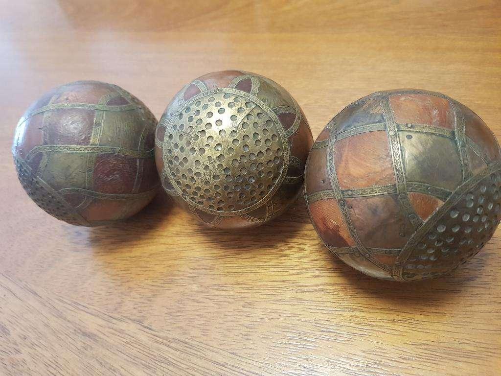 Esfera Antigua de Madera Y Bronce