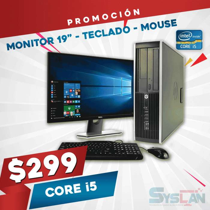 Computadora HP Intel Core I5 3.6 Ghz. 8GB RAM 320GB <strong>monitor</strong> 19 GARANTÍA
