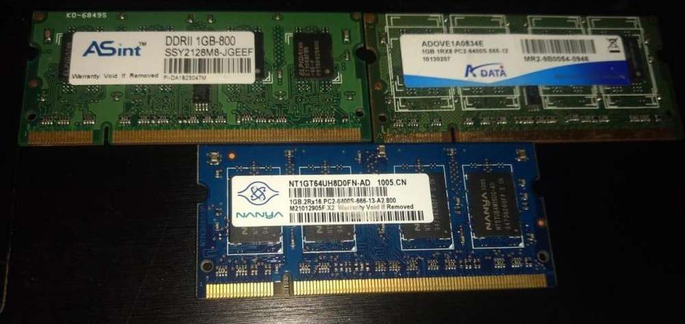 Memorias para <strong>notebooks</strong> y All in one 1gb Ddr2 Pc2 6400 800mhz