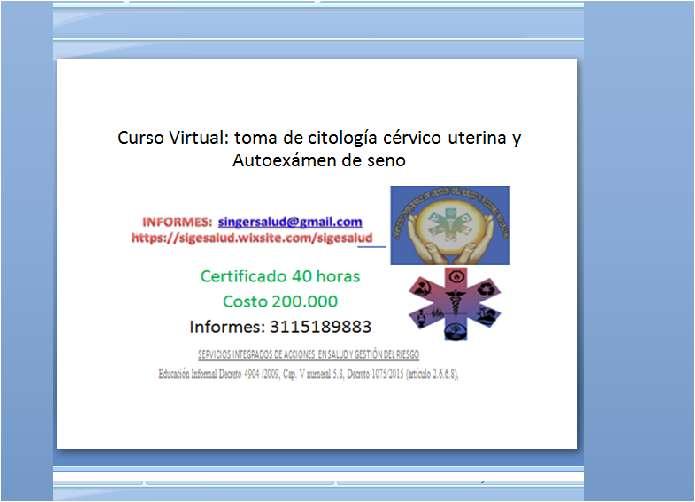 200.000 curso virtual toma de citología cérvico uterina y Autoexámen de seno