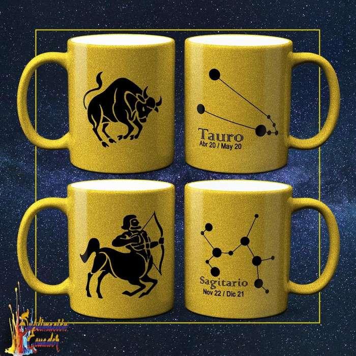 Tazas Personalizadas Doradas / Jarros Dorados Sublimados Signos del Zodiaco