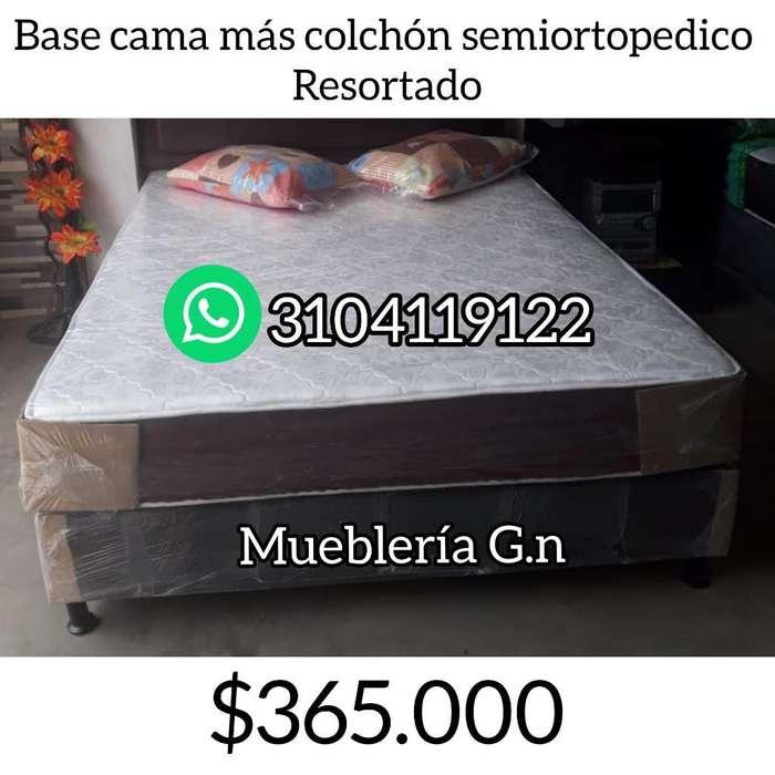 Colchón Semiortopedico Mas Base Cama