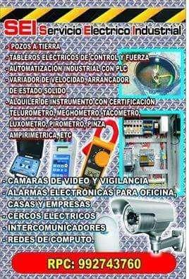 992743760/electricista, pozo a tierra,alarma contra incendio ,cerco eléctrico,alarma para casa,intercomunicador