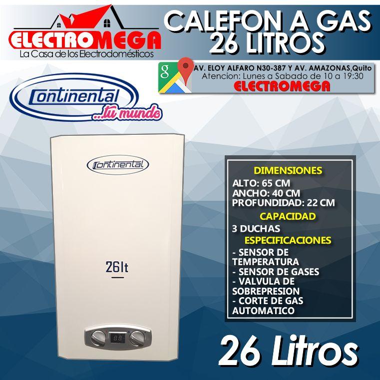 Calefon Continental A Gas Licuado De 26 Litros 3 Duchas