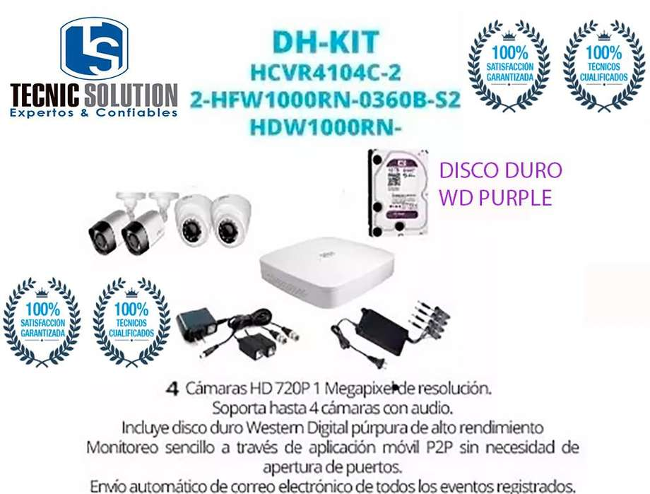 Kit De 4 Camaras Marca Dahua Con Disco Duro Western <strong>digital</strong> Purple