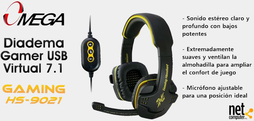 DIADEMA GAMER USB OMEGA SONIDO VIRTUAL 7.1 SURROUND