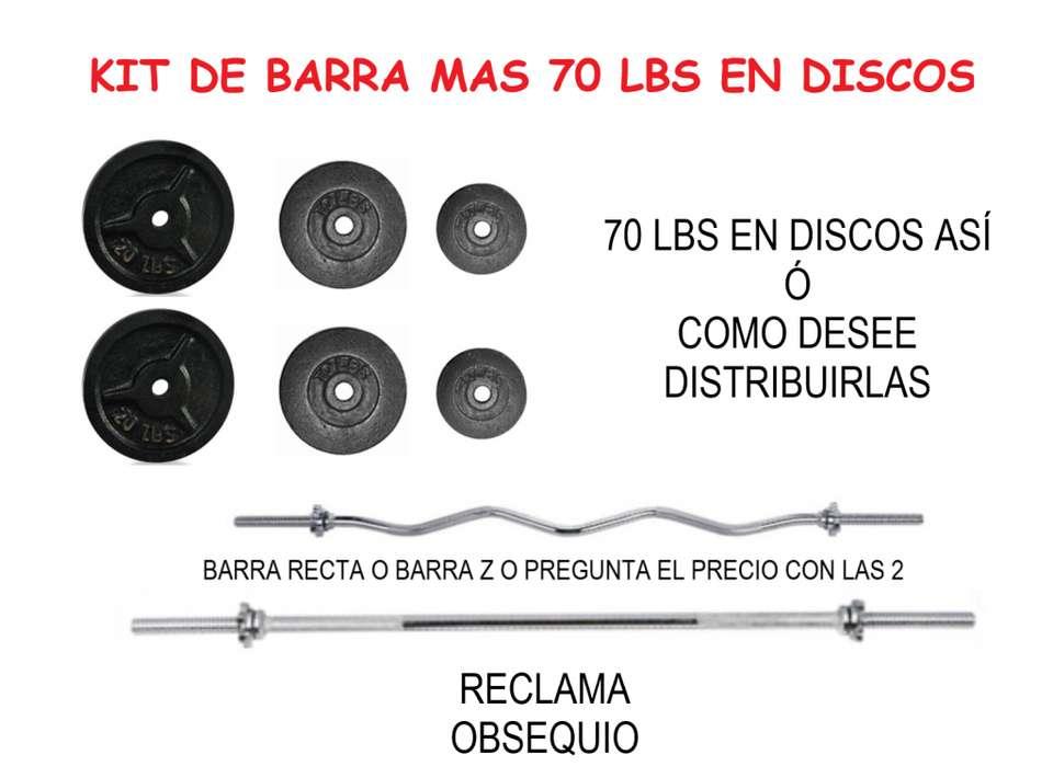 KIT DE BARRA RECTA MAS OBSEQUIO: 1 BARRA RECTA DE 150 CM Y 70 LBS DE PESO EN DISCOS !!!TOTALMENTE NUEVO!!!!!!