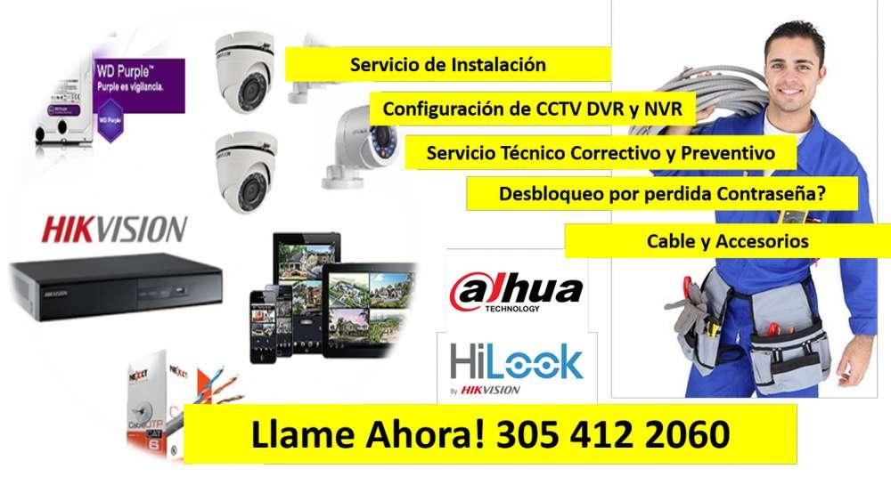 CAMARAS DE SEGURIDAD HIKVISION DAHUA, SERVICIO TECNICO ALARMAS DSC Y BIOMETRICOS ZKTECO 305 412 2060