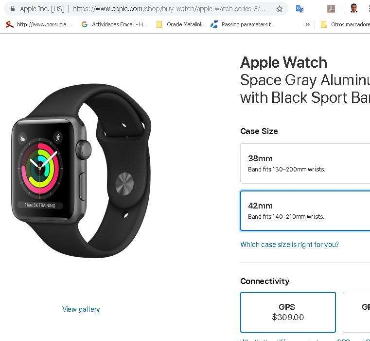 Apple Watch S3 con Gps Color Negro Sell