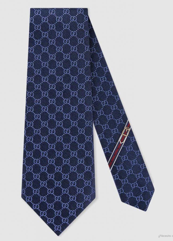 a0357a0676 DIA DE PAPA: Original GUCCI Corbata con diseño GG Color Azul marino Hecha a  mano