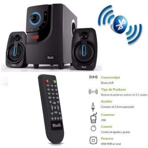 Teatro En Casa Para Pc Tv 40watts Bluetooth Radio Usb Negro