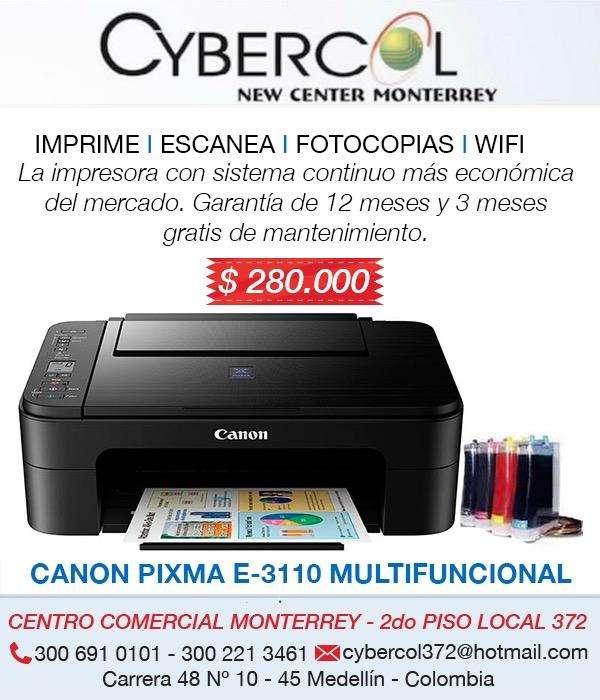 Impresora Canon E3110 WIFI con sistema continuo