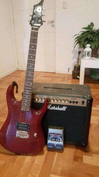 combo de guitarra electrica pedalera y marshall
