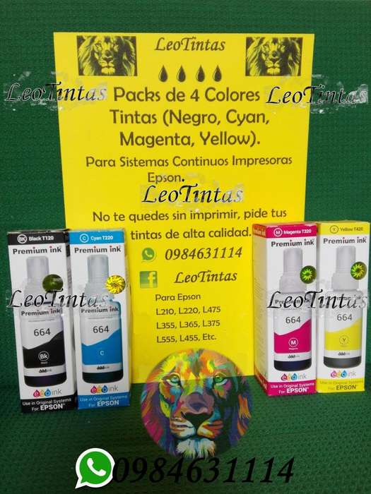 Tintas para Epson Modelos L... Packs de 4 Colores Cyan Magenta Yellow y Black
