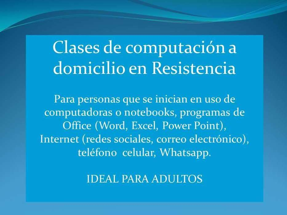 CLASES PARTICULARES DE COMPUTACIÓN E INTERNET A DOMICILIO