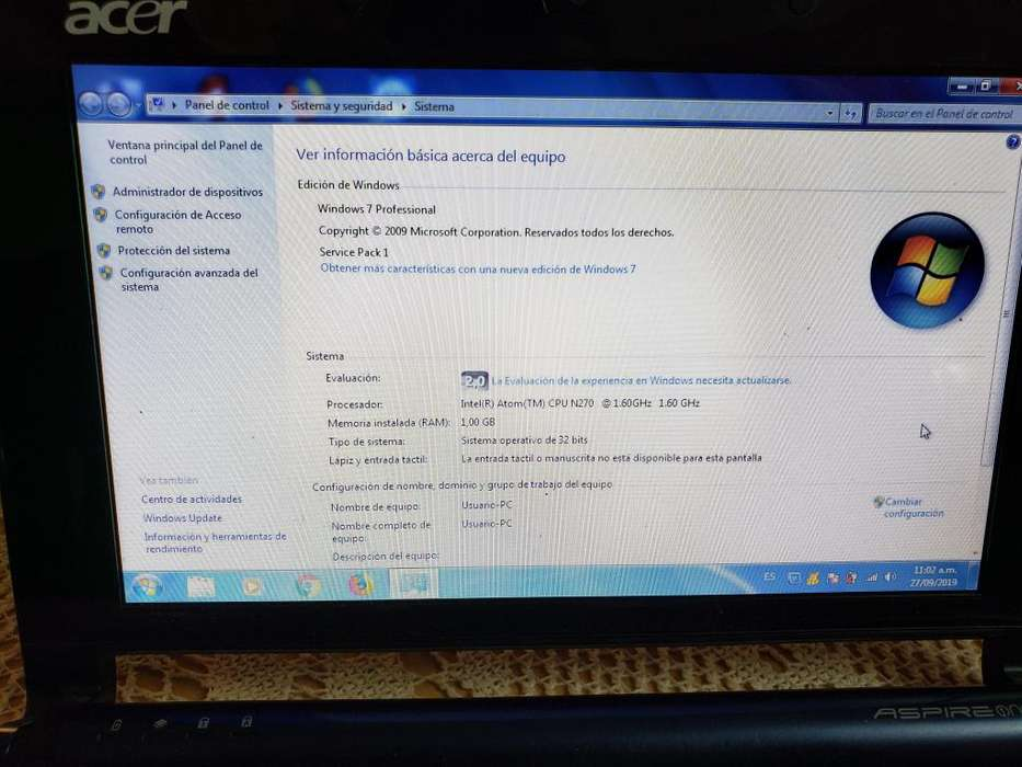 Netbook Acer Aspire One - Completa - Zg5 - Salta