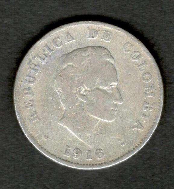Colombia 1916 Silver 50 centavos Very Fine VF Plata