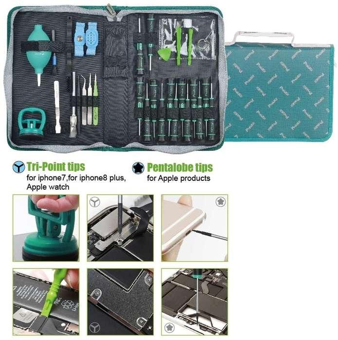 Juego de herramientas para reparar teléfonos celulares y tabletas Apple Pro'sKit PK-9116