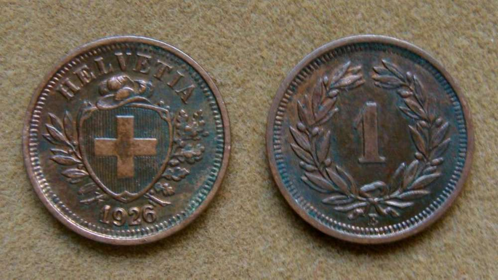 Moneda de 1 rappen Suiza 1926