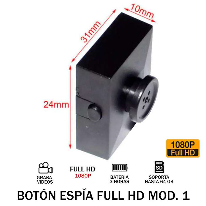 Boton Camara Espia Full Hd 1080p 3h Audio Y Video