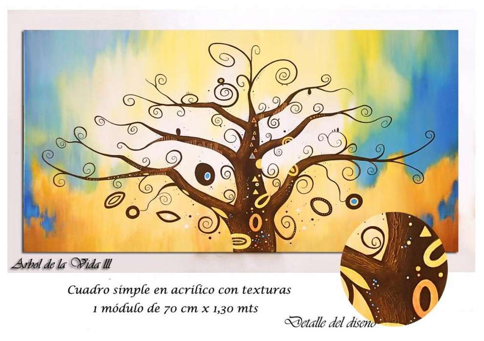 Cuadros Decorativos Polípticos Paisaje Florales Acrilico texturado Arbol De La Vida