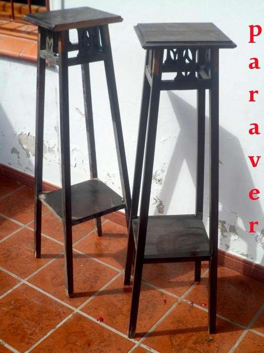 Antiguo par de pedestales de roble diseño y estilo ingles ò art deco