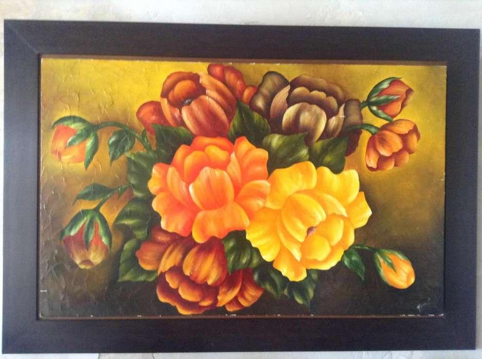 Cuadro flores con marco