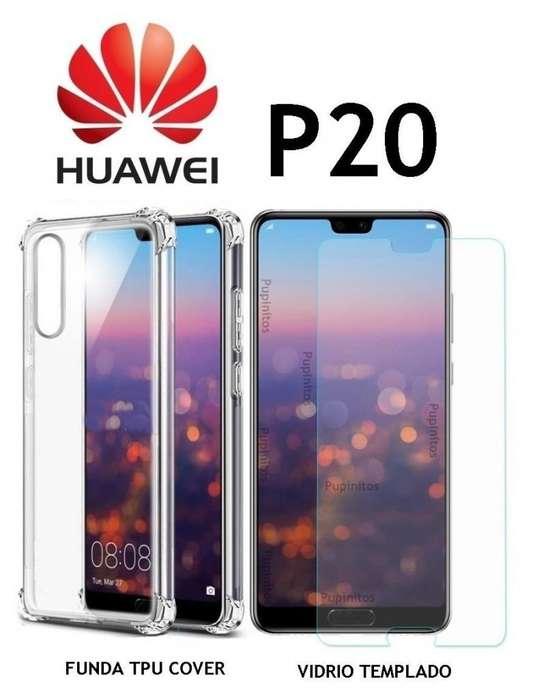 Funda Tpu Anti Golpes Vidrio Templado Huawei P20 Rosario