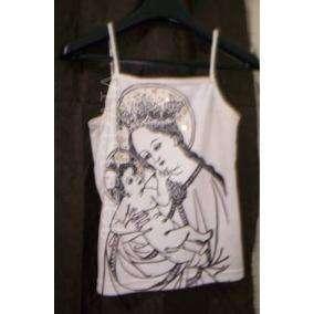 remera Solerita Blanca Tm Imagen Virgen/niño Use 1 Vez ¡¡¡buenisima