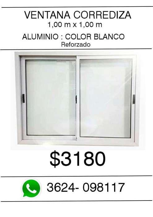 Ventana de <strong>aluminio</strong> 1 m x 1m -REFORZADO