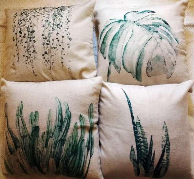 set 4 cojines decorativos plantas tropicales 45 x 45 cm