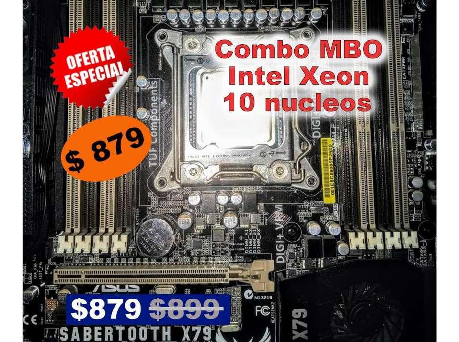 COMBO Procesador Intel XEON e5 2680 v2 de 10 núcleos 20 hilos más MBO Asus Sabertooth x79