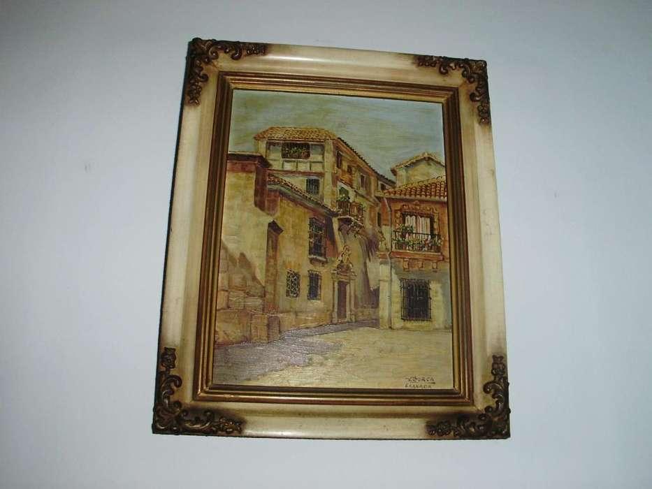 Antiguo Marco de madera con cuadro original firmado V. LLorca