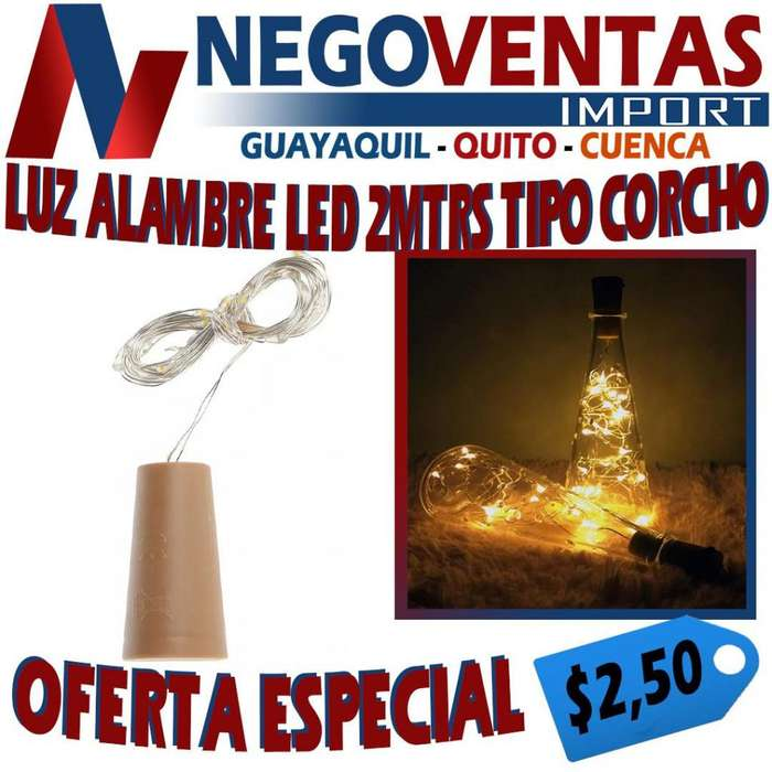 LUZ ALAMBRE LED 2 MTRS TIPO CORCHO DE OFERTA