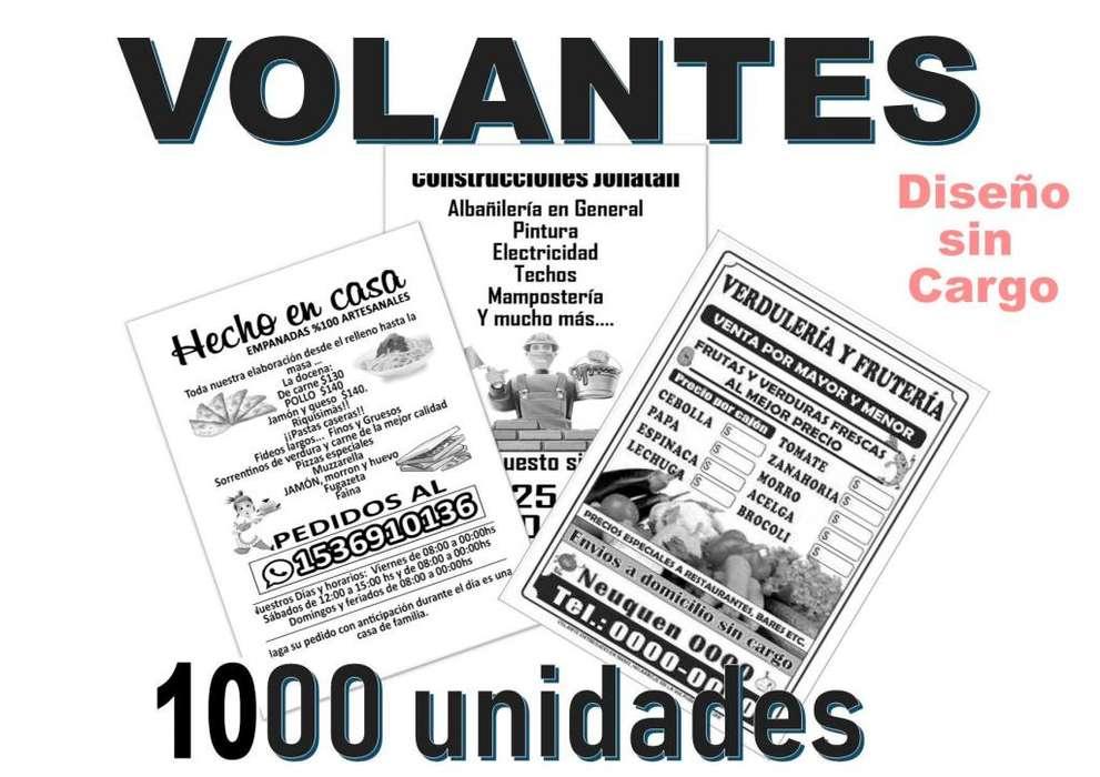 Folletos publicitarios en blanco y negro x 1000 unidades 450