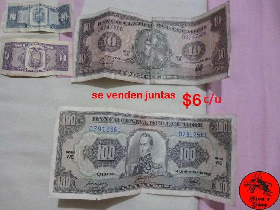 Billetes De 10 Y 100 Sucres