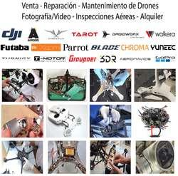 Drones Mantenimiento Reparación Venta Phantom Mavic Alquiler Eventos Filmacion Fotografia Topografia DJI