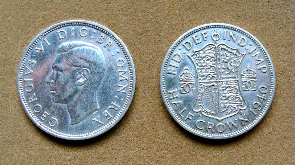 Moneda de ½ corona de plata Gran Bretaña 1940