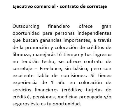 Ejecutivos comerciales para oferta de contrato por corretaje